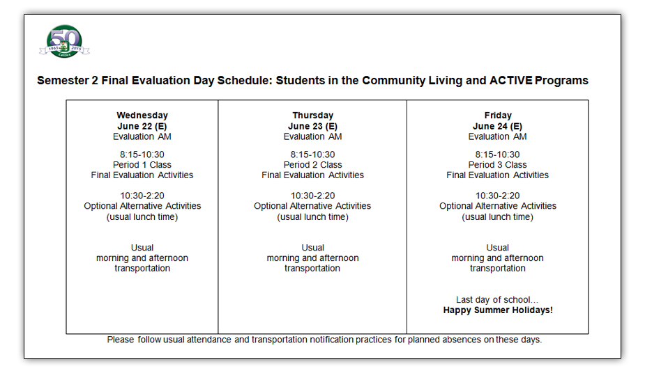 Sem-2-2016-eval-schedule-CommunityLiving-and-ACTIVE-Programs